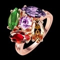 5 Piece Multi Gem Rose Gold Plated Ring - Thumbnail 1