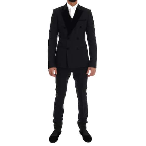 Dolce & Gabbana Black Wool Stretch Double Breasted Men's Suit - it48-m