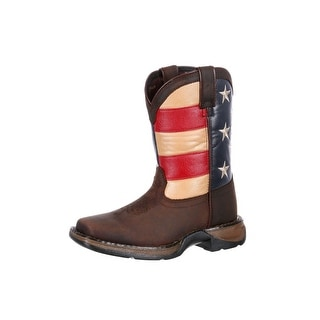 Durango Western Boot Boys Kids Rebel USA Flag Square Toe Brown DBT0160