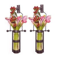 .  Wall Mount Hanging Glass Cylinder Vase Set with Metal Cradle and
