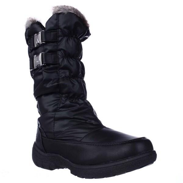 Weatherproof Mikayla Mid Calf Buckle Shearling Lined Winter Boots, Black
