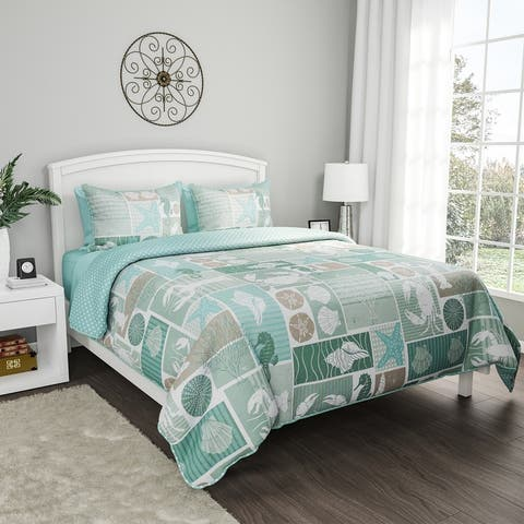 """2- or 3-Piece Quilt Set- """"Harbor Town - Veranda"""" Hypoallergenic Polyester Microfiber with Shams by Windsor Home - Aqua/Tan/White"""