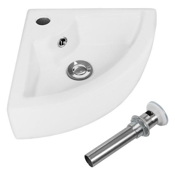 Bathroom Corner Ceramic Vessel Sink with Overflow and Faucet Hole
