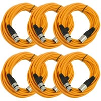 SEISMIC AUDIO (6 PACK) Orange 25' XLR Microphone Cables
