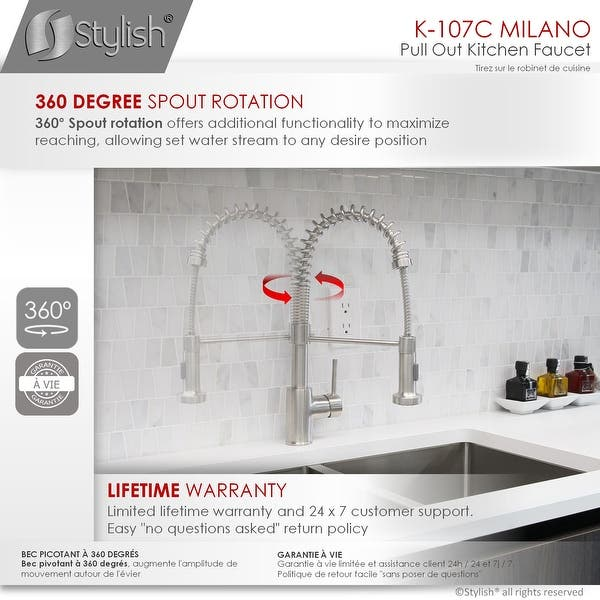 Shop Single Handle Pull Down Sprayer Kitchen Faucet With Spring Design In Chrome Overstock 28979359