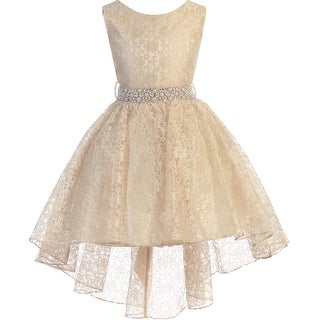 High Low Floral Lace Easter Pageant Flower Girl Dress Taupe JK3744 (More options available)