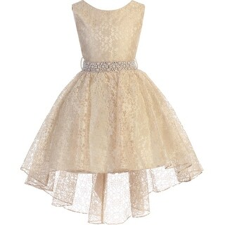 High Low Floral Lace Easter Pageant Flower Girl Dress Taupe JK3744