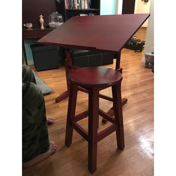 Shop Studio Designs Creative Wood 32 Inch Wide Drafting Table With Stool Set