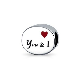 Bling Jewelry You and I Red Enamel Heart Round Charm Bead .925 Sterling Silver