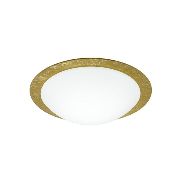Besa Lighting 9772GFC Ring 1 Light Flush Mount Ceiling Fixture with White / Gold Ring Glass - na