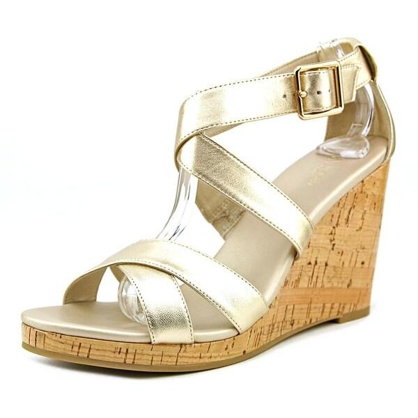 Cole Haan Jillian Wedge Women Soft Gold Metallic Sandals