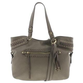 Jessica Simpson Womens Angie Hobo Handbag Studded Faux Leather - slate - LARGE