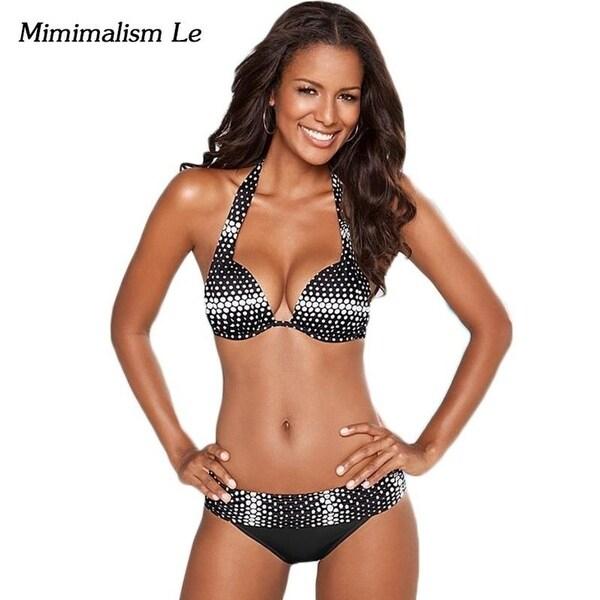 30ece0748db Minimalism Le hot Halter Top Bikinis 2018 Swimwear Women Swimsuit Push Up  Bikini Set Brazilian Vintage