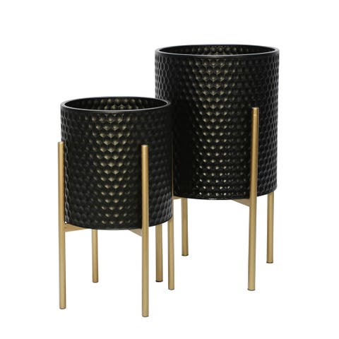 Honeycomb Planter On Metalstand, Black/Gld (Set Of 2)