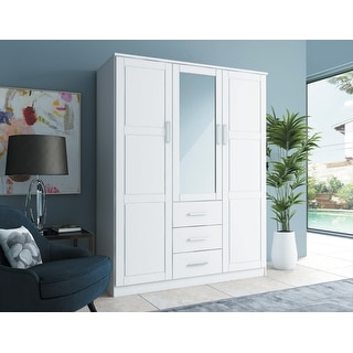 Palace Imports Cosmo Solid Wood 3-door Wardrobe with Mirror