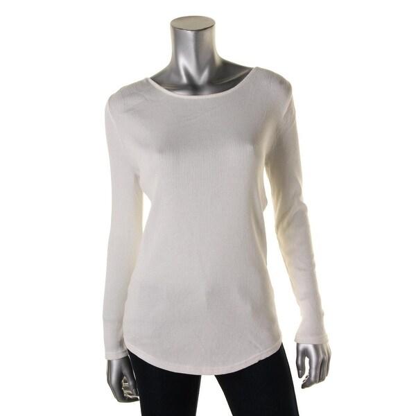 Lauren Ralph Lauren Womens Pullover Top Ribbed Knit Long Sleeve