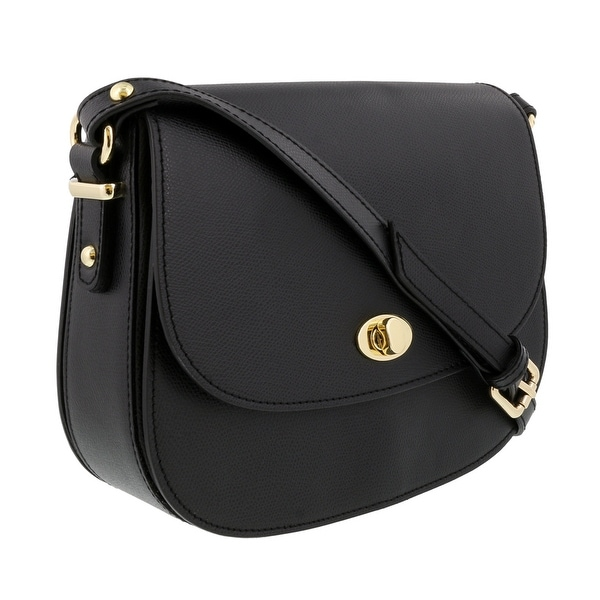 HS Collection HS1425 NR Black Saddle Shoulder Bag - 10-8-3
