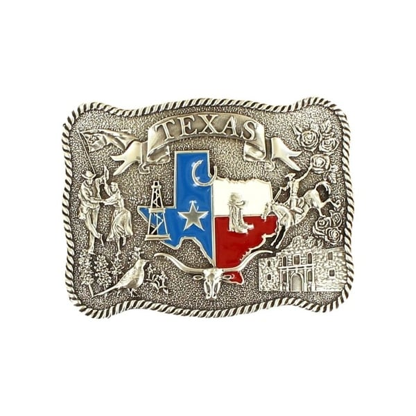"Nocona Western Belt Buckle Texas Flag Rope Edge Rectangle Silver - 3 3/4"" x 2 3/4"""