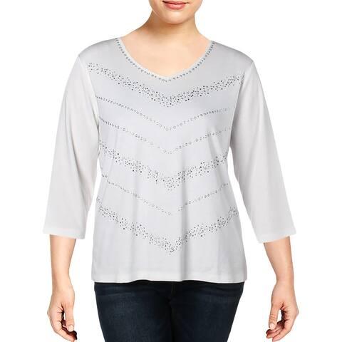 Alfred Dunner Womens Knit Top Embellished V-Neck - XL