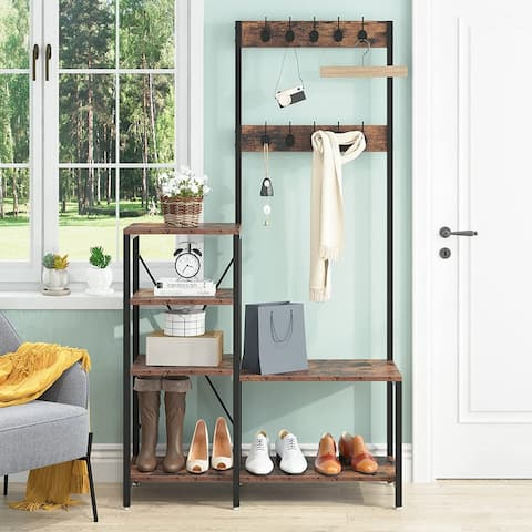 Entryway Bench with Coat Rack, Industrial 3-In 1 Hall Tree with Shoe Bench, Storage Shelves and 10 Hanging Hooks