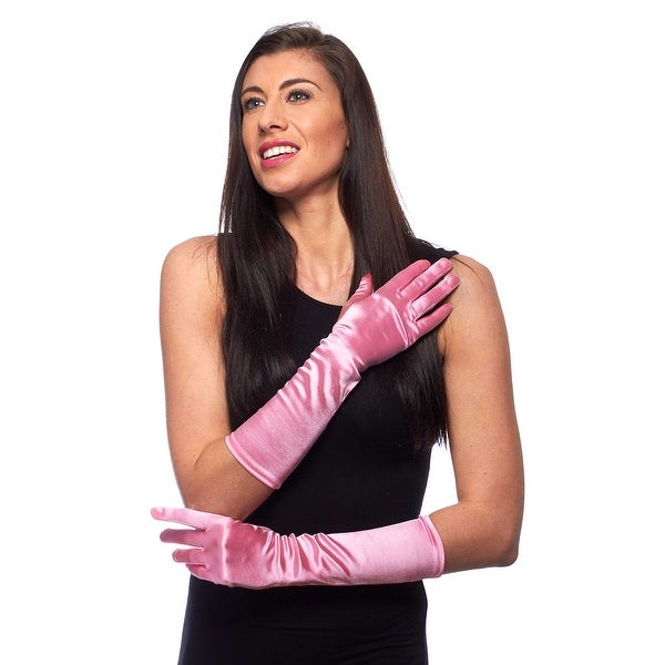 "Elegant Elbow Length 15"" Satin Gloves"