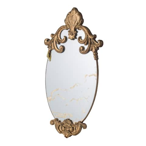 Large 26-inch Antique Polished Gold Regal Wall Mirror