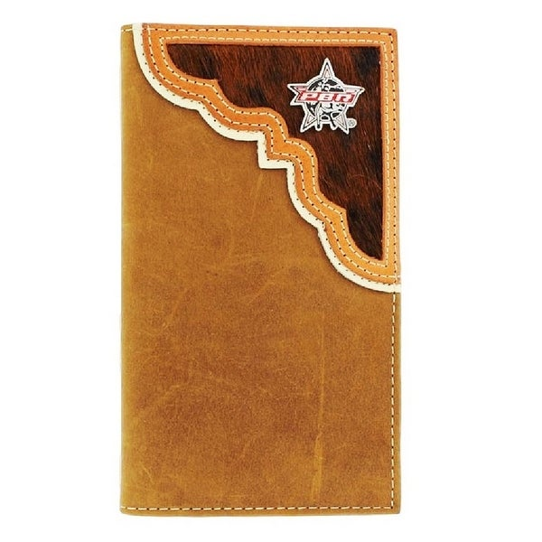 PBR Western Wallet Mens Leather Rodeo Tan Aged Bark - One size