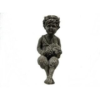 Concrete Pan Faun Shelf-Sitter Statue Greek Mythology - gray