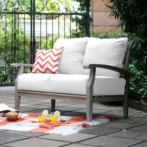 Leon Teak Patio Loveseat with Cushion by Havenside Home