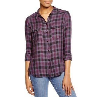 Paige Womens Mya Button-Down Top Plaid Drapye