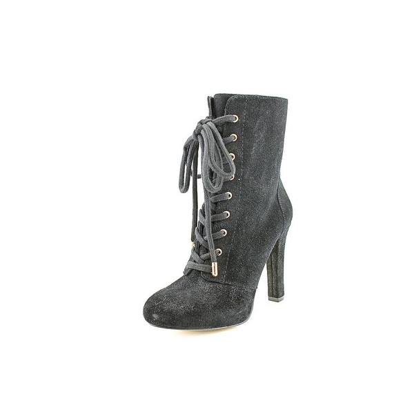 INC International Concepts Bisquit Women Round Toe Suede Black Ankle Boot