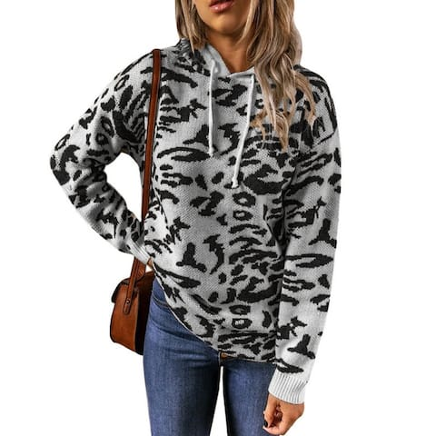 Leopard Print Drawstring Hooded Sweater