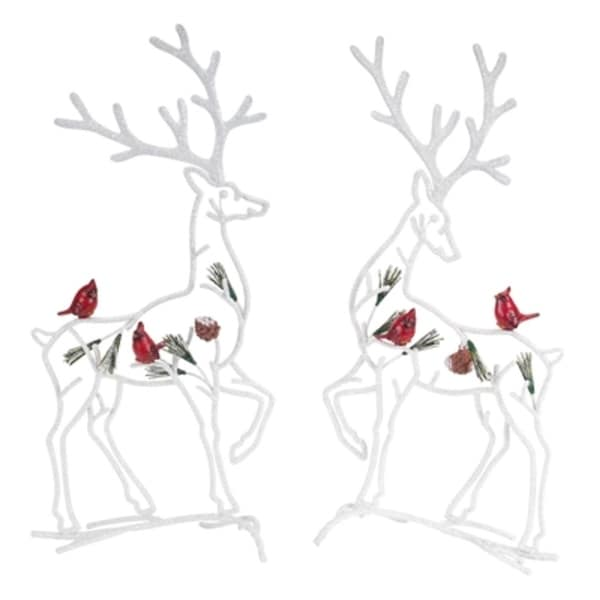 """Set of 2 White Reindeer with Cardinal Birds Christmas Table Top Decorations 20"""""""