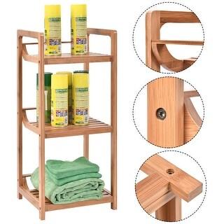 Costway 3-Tier Bathroom Shelf Bamboo Bath Storage Space Saver Organizer Shelves Rack