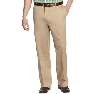 Izod Big and Tall American Chino Extender Flat Front Pants Khaki 46 x 34