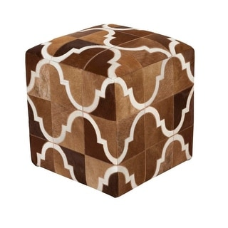 """18""""Henna Brown and Lace White Abstract Upholstered Foot Stool Ottoman"""