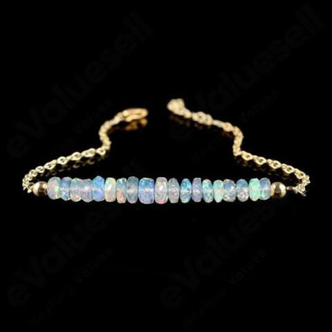 Evaluesell Handmade Sterling Silver Ethiopian Opal Beaded Bracelet Gold Plated - 5-10 Carat