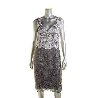 Adrianna Papell Womens Lace Colorblock Cocktail Dress