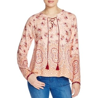 Sanctuary Womens Sunshine Girl Tunic Top Floral Print Lace-Up