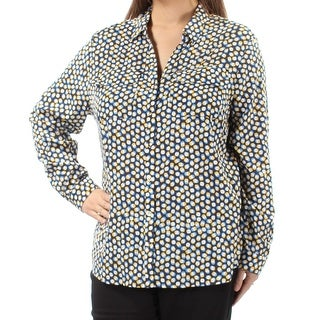 CHARTER CLUB $52 Womens New 1725 Navy Polka Dot Pocketed Cuffed Top XL B+B