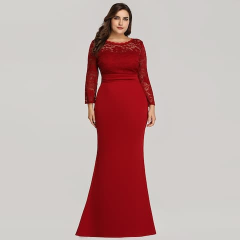 ea736c30db Ever-Pretty Womens Plus Size Mermaid Long Sleeve Formal Evening Prom Party  Dress 07668