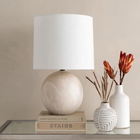 Isaia Cream Faux Marble Ceramic Table Lamp