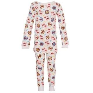 Vitamins Kids Little Boys White Dog Comics Lettering 2 Pc Pajama Set 2-4T