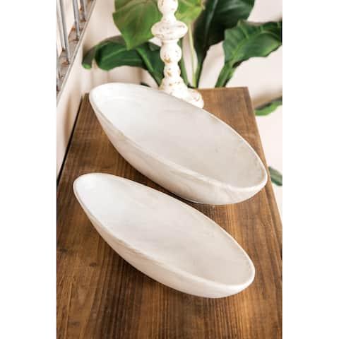 White Porcelain Farmhouse Planter (Set of 2) - 22 x 7 x 3Round