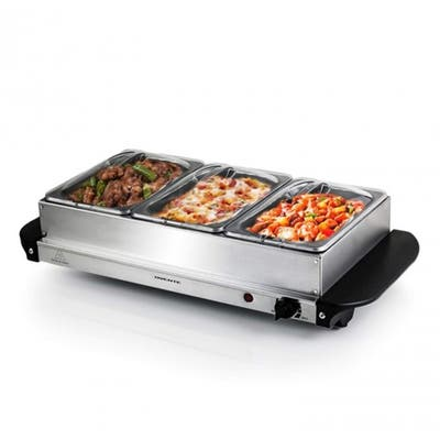Ovente Electric Food Buffet Server & Warmer 3 Portable Stainless Steel Chafing Dishes Trays, Silver FW173S