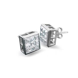 Bling Jewelry Square Invisible Cut CZ Bezel Stud earrings 925 Sterling Silver 9mm