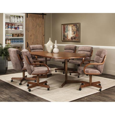 Caster Chair Company 7 Pc Dining Set - 42x54x72 Table / Tawny Fabric Chair