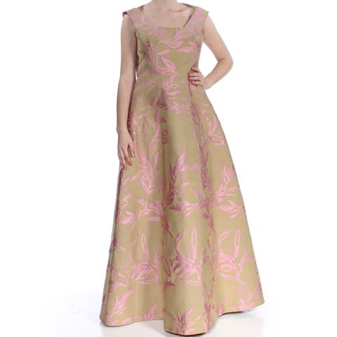 b0f55a5b170 KAY UNGER Womens Pink Printed Sleeveless Scoop Neck Full-Length Fit + Flare  Formal Dress