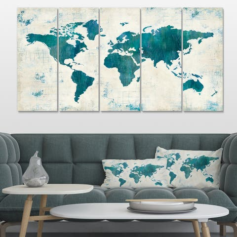 Designart 'Discover the World Map in Blue' Traditional Canvas Artwork Print