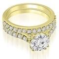 1.30 cttw. 14K Yellow Gold Cathedral Round Cut Diamond Bridal Set - Thumbnail 0